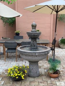 bubble fountain in brick yard